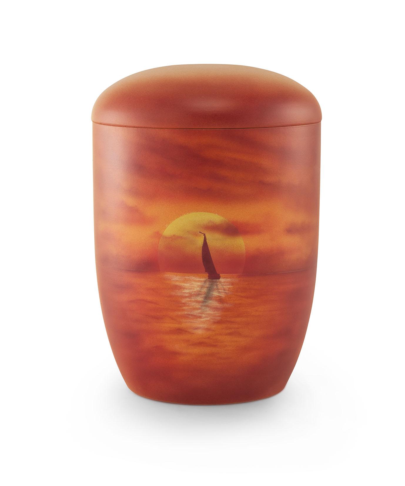 Zee-urn zeilboot zonsondergang