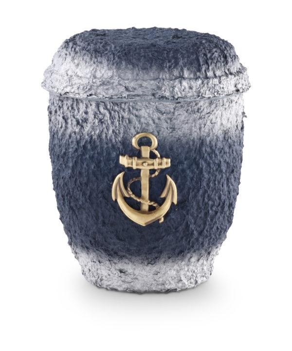 Biologische urn blauw met anker