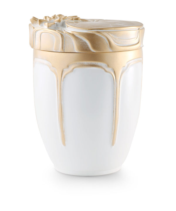Zee-urn wit met zeeroos in goud